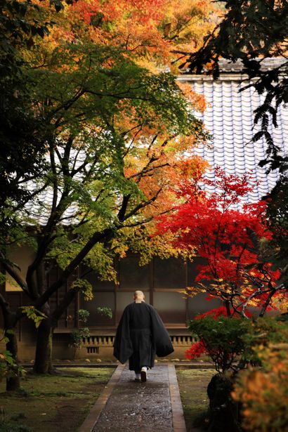 A monk at Heirin-ji temple, Saitama, Japan. Heirin-ji is a Rinzai temple located in Niiza city, just outside of Tokyo.