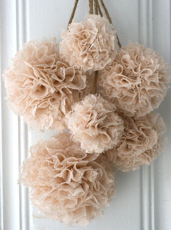 Wedding Decorations, Baptism Decorations, Baby Shower Decor, Set of 6 Hanging Pom Poms, Brown, Ivory and Champagne Lace Pom Poms