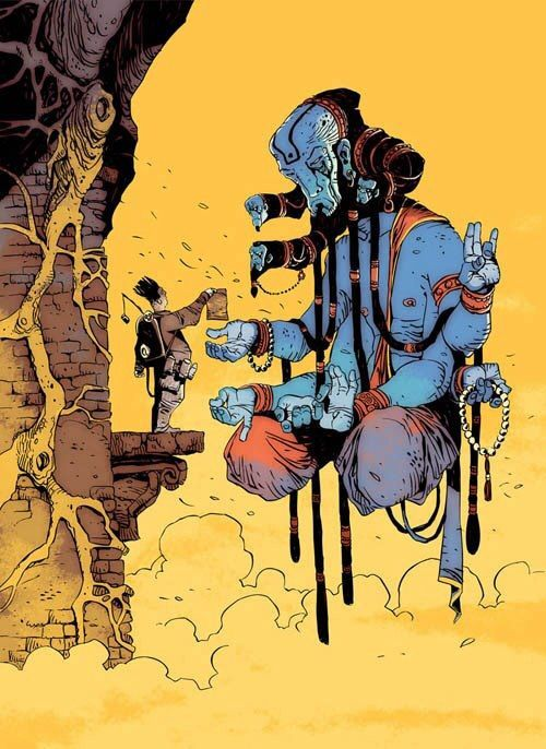 Love this image of a seeker presenting his list of questions or wishes to a kind of swami/genie/avatar. Would love to know who did this - it's great.