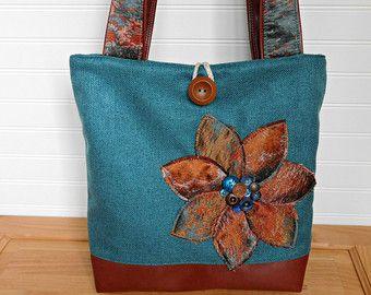 Bolsas hechas a mano, bolsos de totalizador de profesor para el trabajo, bolso de mano con bolsillos, bolsos de tela, azul bolso para ella, ordenador portátil bolsa de tela grande