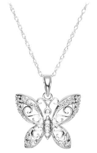 14k Gold Diamond Butterfly Pendant Necklace 0.10 cttw