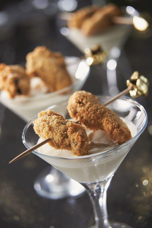 Gefrituurde oesters met zilte bloemkoolcrème