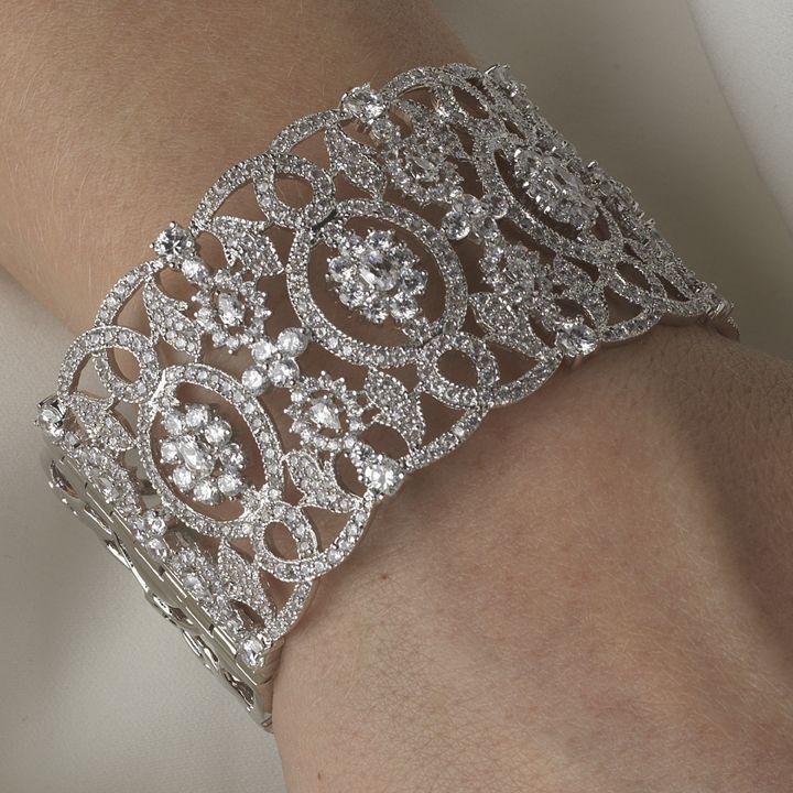 Vintage Inspired Ornate Rhodium CZ Bridal Cuff Bracelet - so gorgeous! - Affordable Elegance Bridal -