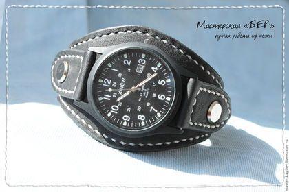 Широкий кожаный ремешок для часов, ремешок для часов из кожи.Мастерская «БЕР» Натуральная кожа, часы для примера.