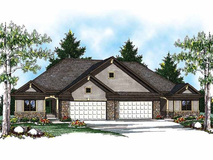 Eplans Ranch House Plan - Duplex with Economical Floor