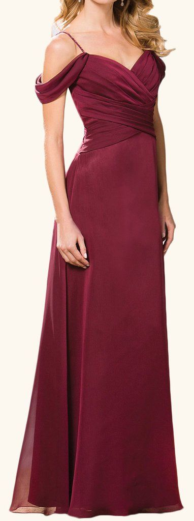 MACloth Off the Shoulder Chiffon Long Bridesmaid Dress Burgundy Formal Gown