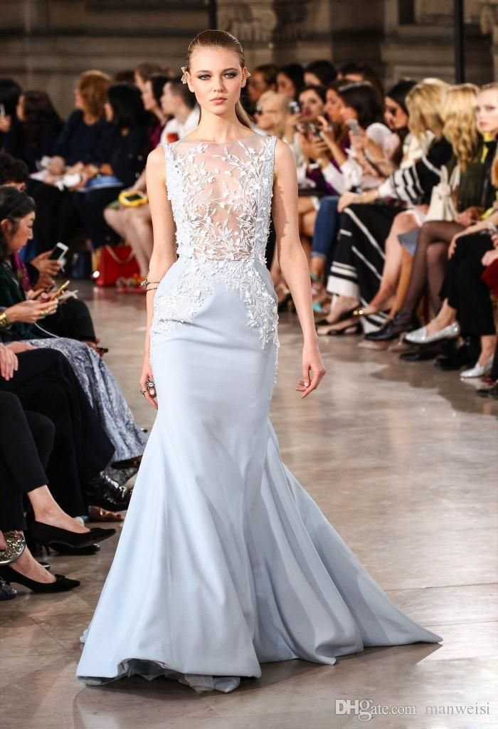 Georges Hobeika 2017 Sexy Evening Dresses Wear Lace Applique Beads Mermaid Party Gowns Sweep Train Jewel Neck Sleeveless Red Carpet Dress Evening Gowns Online Long Evening Gowns From Manweisi, $134.13| Dhgate.Com