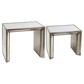 "Reminiscent of Hollywood Regency designs, these mirrored nesting tables bring a glamorous touch to your decor. Use them to set out cocktails at your next soiree or group them together to display a stylish vignette.   Product: Small and large nesting tableConstruction Material: Metal, wood and mirrored glassColor: BrownDimensions: Small: 18.8"" H x 21"" W x 14.5"" DLarge: 24"" H x 27.3"" W x 16.2"" D"