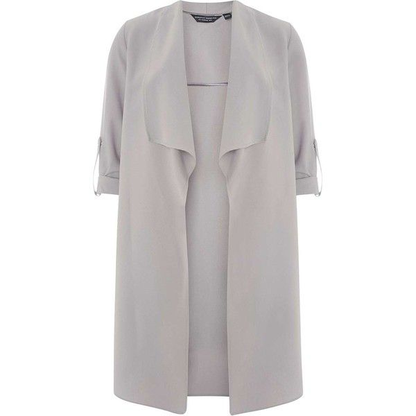Dorothy Perkins Grey Waterfall Duster Coat ($69) ❤ liked on Polyvore featuring outerwear, coats, jackets, grey, duster coat, dorothy perkins, grey waterfall coat, waterfall duster coat and gray coats