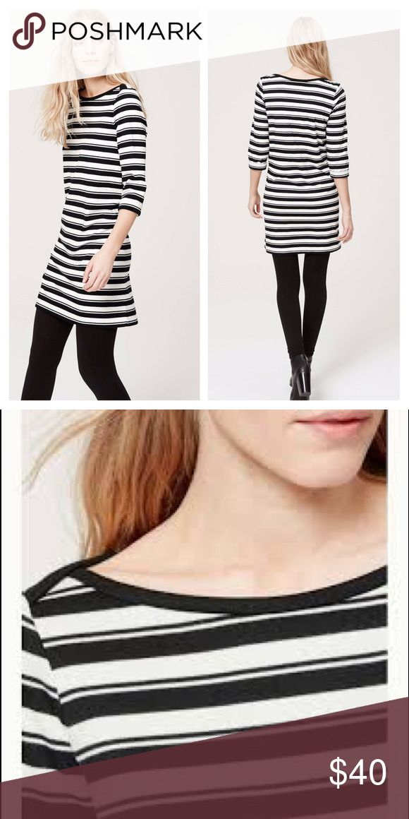 Loft✨NWT Striped Dress✨ Brand new, never worn LOFT black & white striped dress!  Very cute with leggings or tights. ❤️ No trades, holds or returns.... thanks! 😊 LOFT Dresses