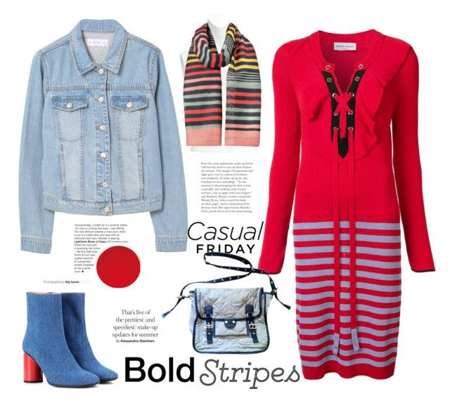 """Denim and Bold Stripes"" by ellie366 ❤ liked on Polyvore featuring MANGO, Sonia Rykiel, Acne Studios, denimjacket, CasualChic, scarf, denimshoes and BoldStripes"