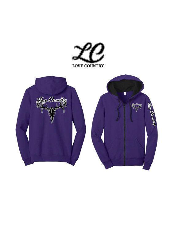 """Purple """"Love Country"""" Zip UP Hoodie"""