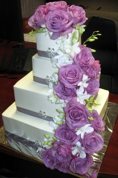 Green Purple Silver White Garden Square Wedding Cakes Photos & Pictures - WeddingWire.com