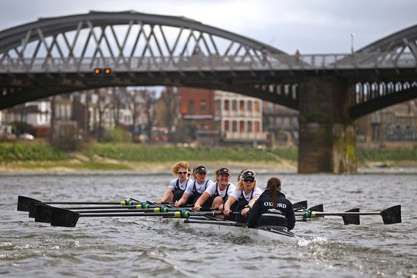 The OUWBC boat races against the Molesey boat during the 2017 Cancer Research Boat Boat Races Training Fixture on March 19, 2017 in London, England.