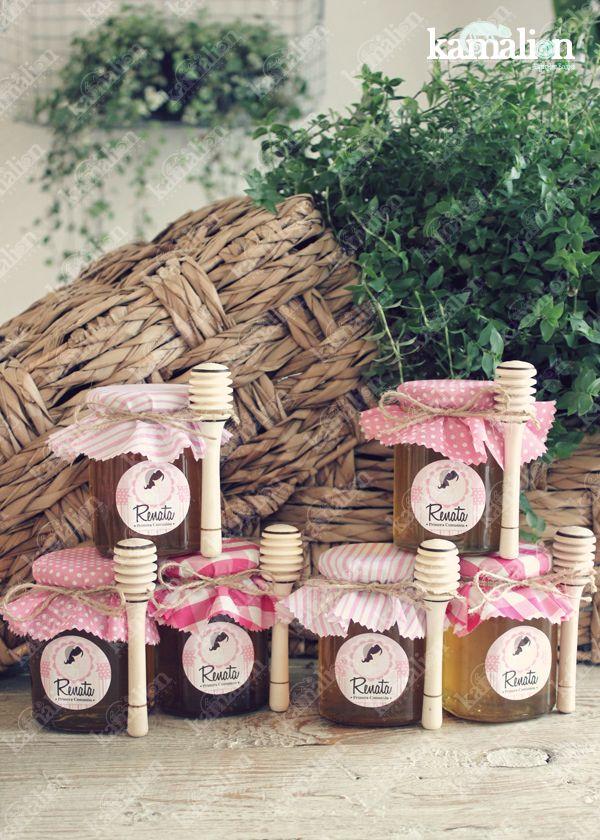 www.kamalion.com.mx - Recuerdos / Giveaways / Favors / Detalles Personalizados / Vintage / Bautizo / It's a girl/ Rosa / Pink / Frascos de miel / Honey Jar / Miel de abeja / Primera comunión.