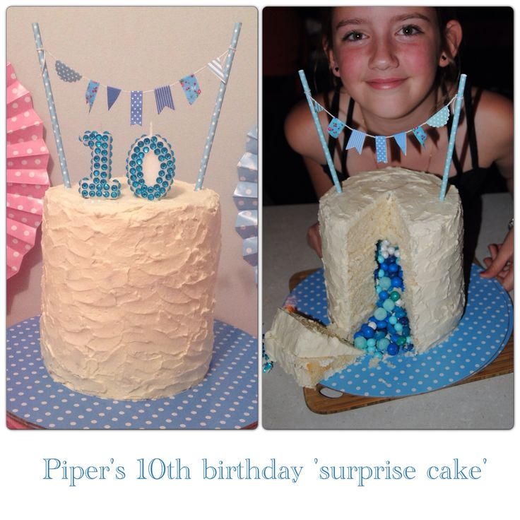 Pipers 10th b'day.. A 'surprise cake'. With lollies in her favourite colour.