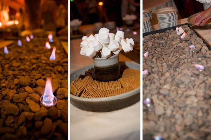 Smores Bar For The Reception I Like How Theres Just A Box Containing Stnes And Candles To