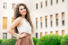 Beautiful Woman With Curly Hair Outdoor. Makeup - Download From Over 45 Million High Quality Stock Photos, Images, Vectors. Sign up for FREE today. Image: 73609876