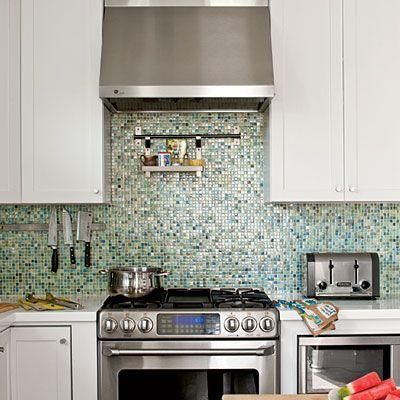 Kitchen - Coastal Prefabricated Home - Southern Living;   Backsplash: Kawaii Recycled Glass Mosaic Tile in Atami; Anchor Bay Tile.