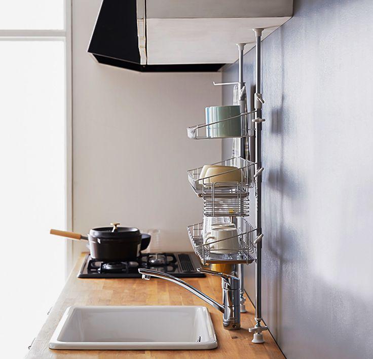 突っ張りタイプ 水切りラック シンク 水切り 狭いキッチン レイアウト 水切り ラック