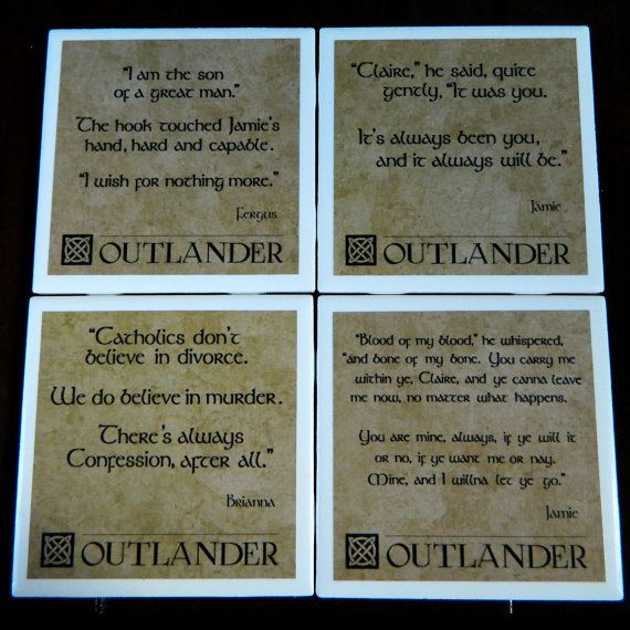 Outlander Quotes coasters Mix and Match Custom set of 4 by ocdang, $10.00