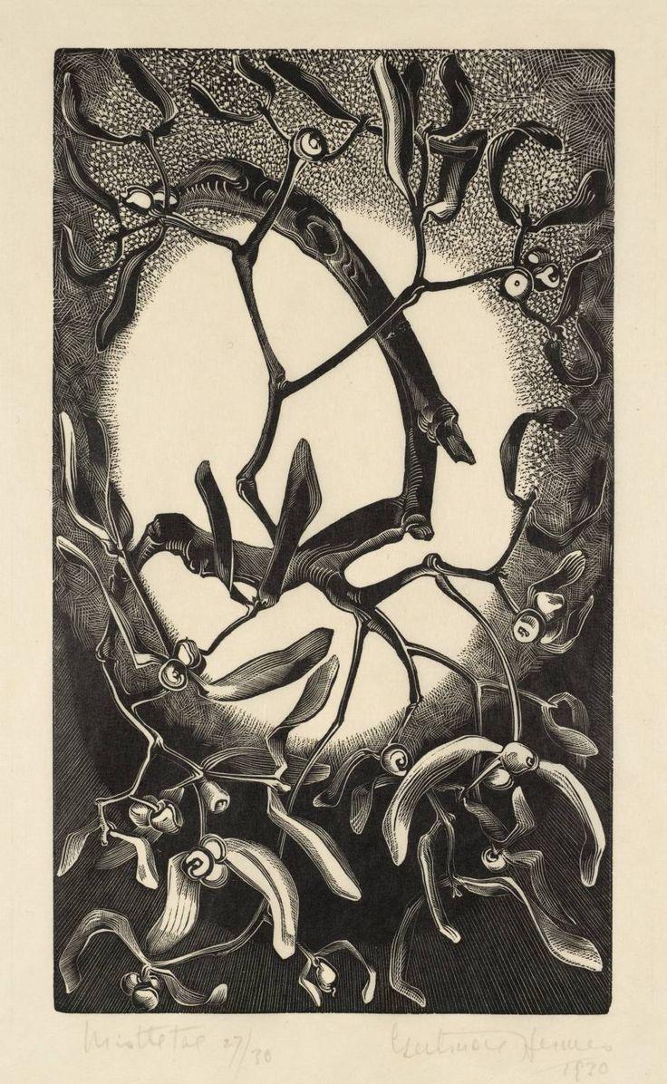 Gretrude Hermes, Mistletoe, 1930. Wood engraving. England. Via Tate