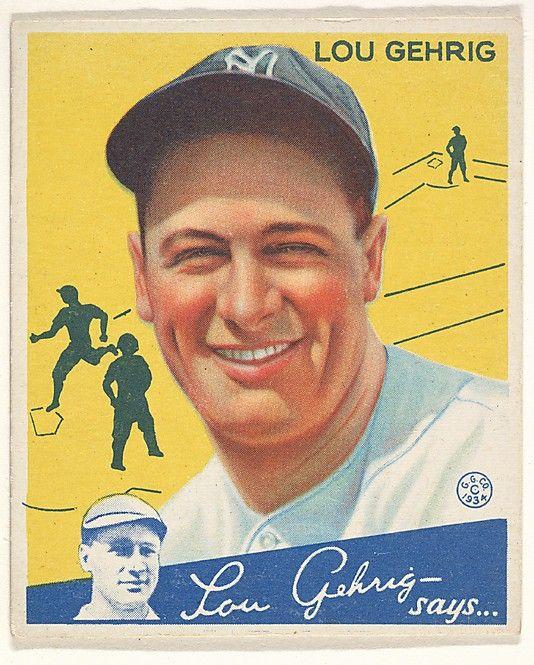 1934 Goudey 37 Lou Gehrig New York Yankees Baseball Card