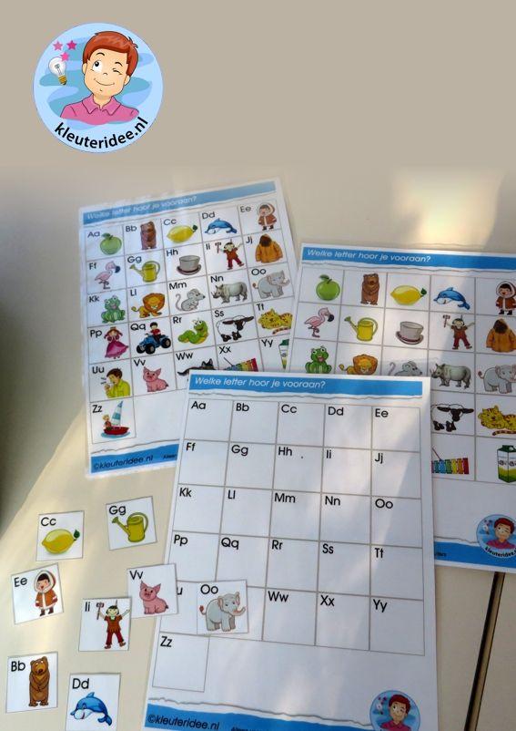 Spelkaarten met letterkaartjes voor de taalhoek 2, letters herkennen, eerste letter, kleuteridee, free printable.