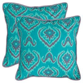 Two ikat throw pillows.Product: Set of 2 pillowsConstruction Material: PolyesterColor: Blue and purpleFeatures: Ikat motifsInserts included Cleaning and Care: Dry clean recommended