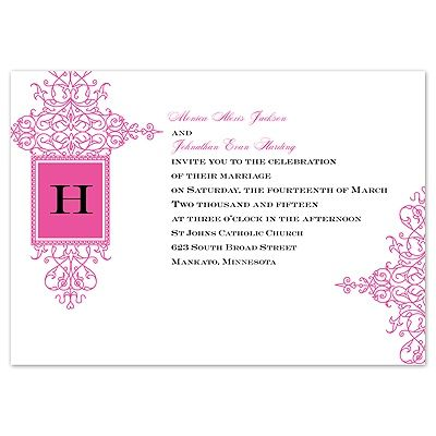 16 best Fuchsia Wedding Invitations images on Pinterest Fuchsia