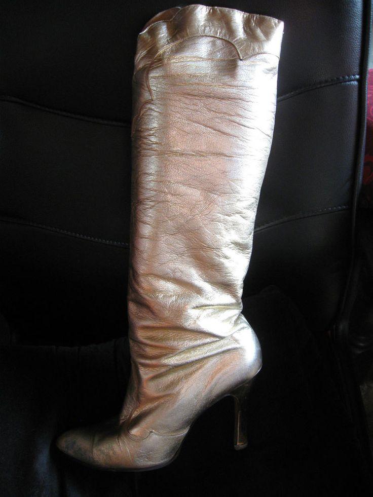 Terry De Havilland Hi Mohican gold boots - 70s/80s