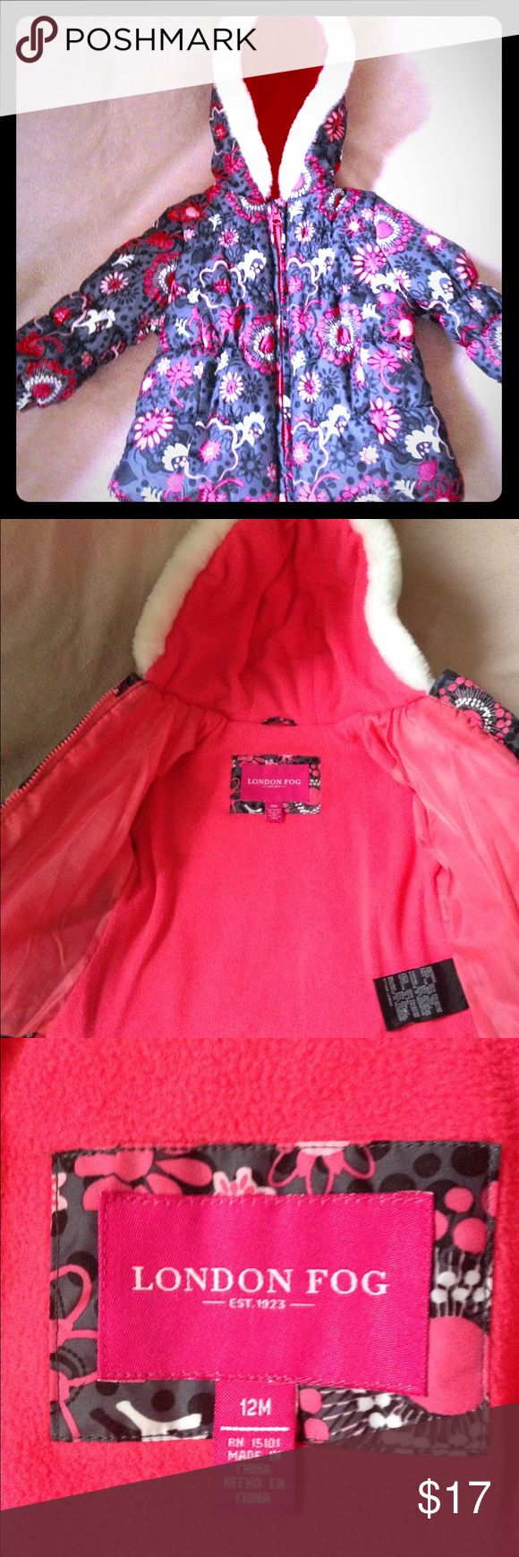 """London Fog"" Baby Girl Winter Coat with Hood ""London Fog"" Baby Girl Winter Coat with beautiful pink, black & white floral print. Pink fleece on the inside and puffy on the outside - LOTS of warmth. The hood is line with white faux fur. PERFECT CONDITION. Almost new. 12 months London Fog Jackets & Coats Puffers"