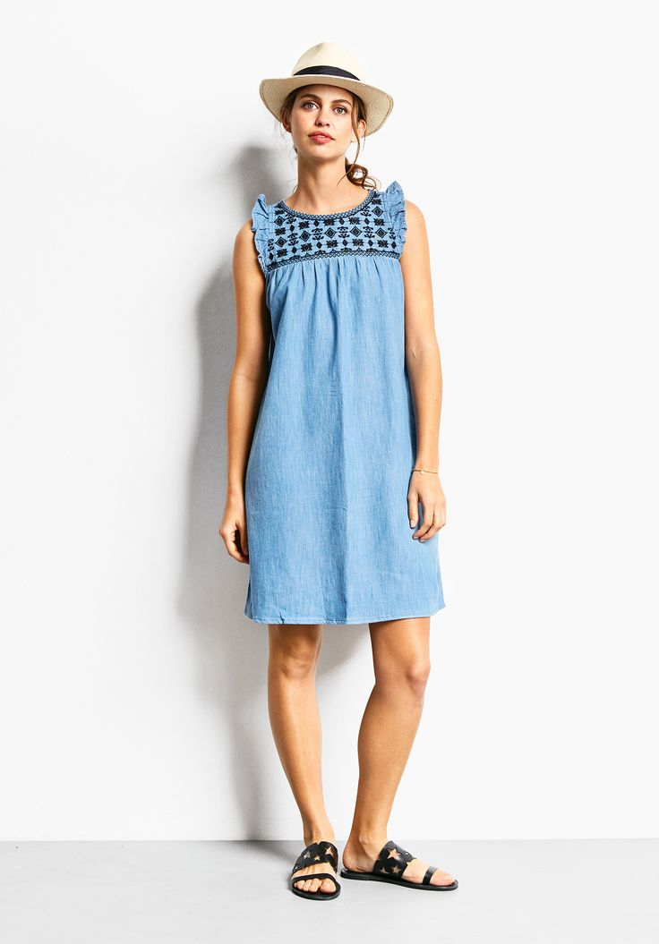 """A must-have summer dress with delightful ruffle sleeves and a pretty embroidered pattern. Team with our panama hat and Stella sandals. •Loose fit. Try your usual size. •Button back closure. •Round neck and sleeveless. •Embroidered Pattern. Unlined. •Model is 5'9"""" and wears size 10."""