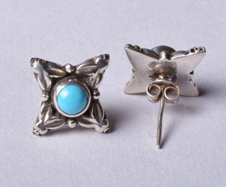 925 Solid Sterling Silver Stud Natural Turquoise Gemstone 1.5 CM JSS-11 #JaipurSilver