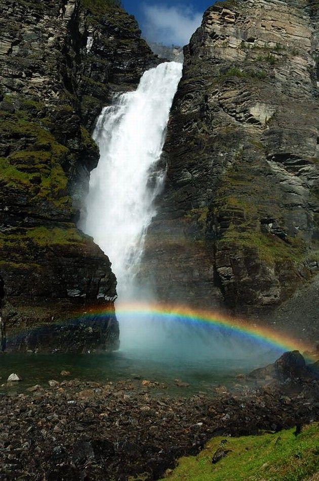 Mollisfossen Waterfall, Northern Norway.