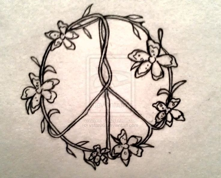 Peace Symbol Flower Tattoo Design
