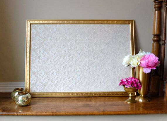 beautiful gold framed lace corkboard cork board wedding pin board escort card holder - Framed Cork Board