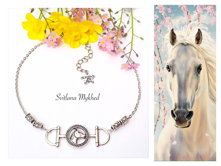 """Collier """"Cheval. Équestre. Équitation. Au galop. Fer à cheval."""" Métal argenté : Collier par perles-et-couronnes"""
