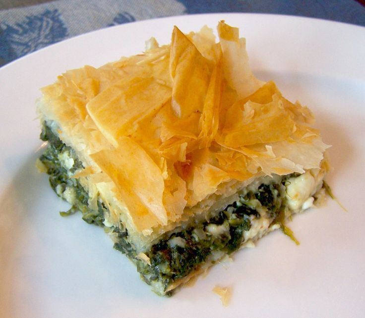 """Spanokopita (Greek Spinach and Feta Pie)....Greece's way of saying """" I love you!"""" MFN amazing out of his world eating here! Filo dough rocks!"""