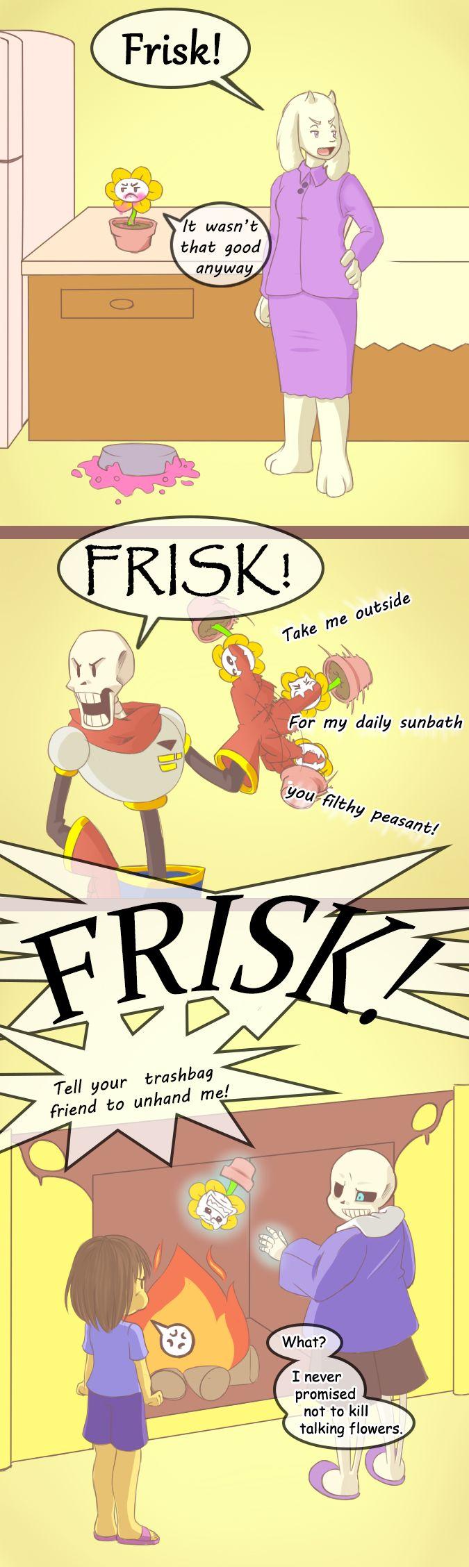 Flowey with Toriel, Papyrus, Frisk, and Sans - comic