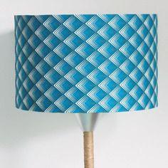 Abat-jour cylindrique - rond - cylindre - losanges géométriques bleu dégradé  28cm
