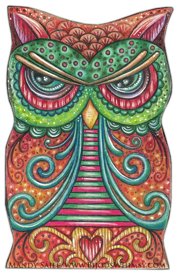 "Owlette Odalis - Art PRINT 8 x 10"" Fun Loving Colourful Owl Art Great For Kids Rooms or Bird & Whimscal Art Lovers"