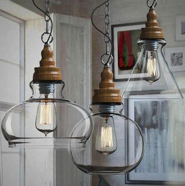 Northic Wood Cap and Clear Glass Shade Pendant Lighting - contemporary - pendant lighting - new york - PHOENIX LIGHTING