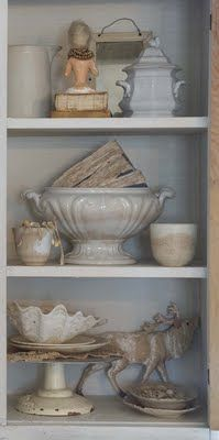 Ironstone in an eclectic vignette united by color