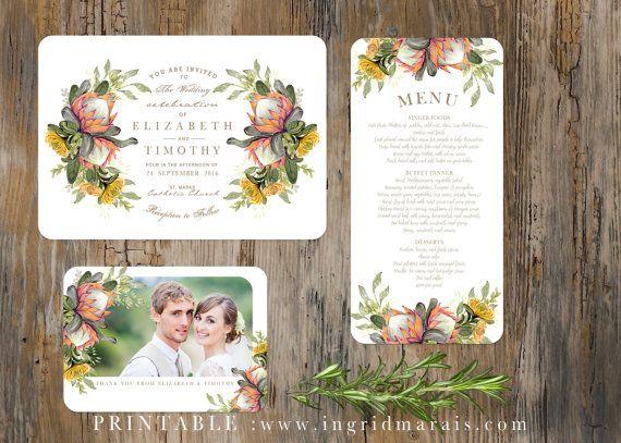 Classic Protea Floral Bouquet Wedding by ingridmaraisdesign