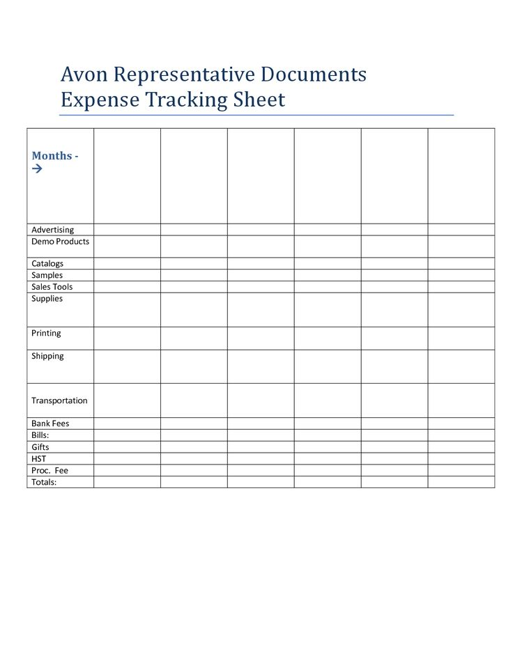 Expense Tracking Sheet for Avon Independent Sales Representatives.doc Download legal documents Keep track of how much you spend in order to operate your Avon business.