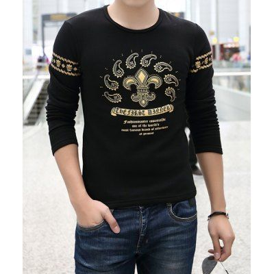 Material: Cotton  Sleeve Length: Full  Collar: Round Neck  Style: Fashion  Weight: 0.300KG  Package Contents: 1 x T-Shirt  Embellishment: Rivet  Pattern Type: Print  SizeBustLengthShoulder Width L906442 XL946543 2XL986744 3XL1026945