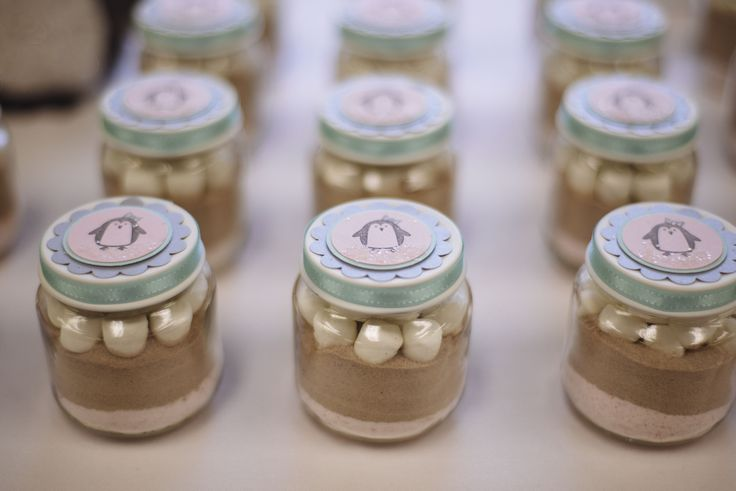 Super cute hot chocolate favors in baby jars. Perfect for our winter gender reveal party.
