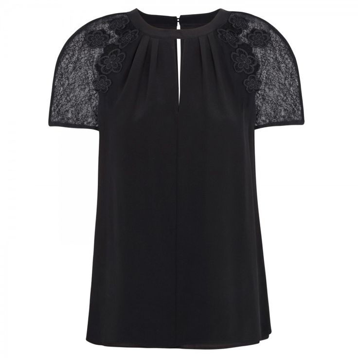 Kimi lace and silk top _BLAC_10