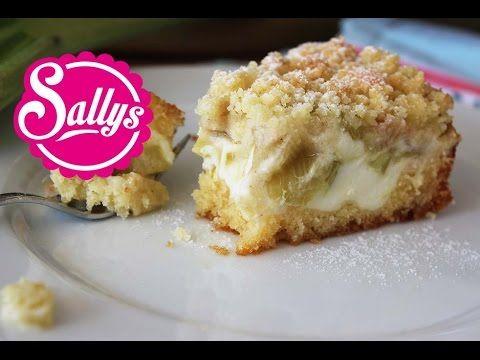 Rhabarberkuchen mit Vanillecreme und Streuseln - sehr einfach, auch als Blechkuchen! - YouTube